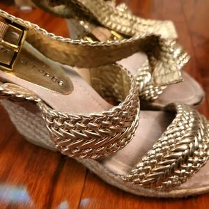 Gold wedge sandals size 7.5